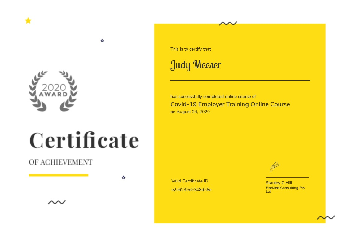 COVID-19 Online Course Certificate